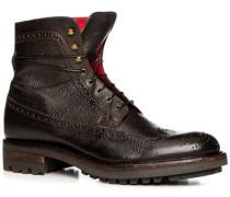 Herren Schuhe Schnürstiefeletten, Leder genarbt, testa di moro braun