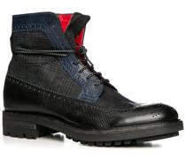 Herren Schuhe Schnürstiefeletten, Leder-Textil, nero-azzurro blau