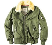 Herren Jacke Blouson Standard Fit Nylon wattiert Echtfell grün grün,rot