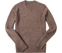 Herren Pullover Yak-Mix braun meliert