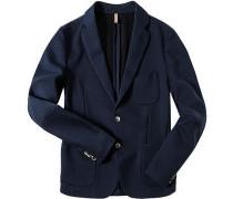 Herren Jersey-Sakko Modern Fit Baumwoll-Mix ungefüttert marine meliert blau