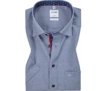 Herren Hemd, Comfort Fit, Baumwolle, marine-weiß gemustert blau