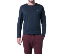 Herren T-Shirt Longsleeve Regular Fit Baumwolle dunkelblau