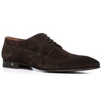 Herren Schuhe Budapester Veloursleder dunkelbraun