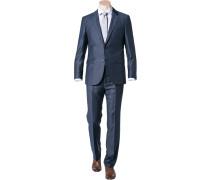 Herren Anzug Regular Fit Schurwolle Super100 blau gemustert