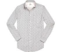 Hemd Regular Fit Popeline weiß- gemustert