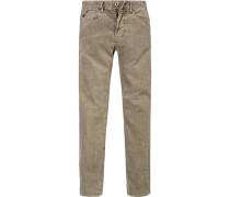 Herren Cord-Jeans Shaped Fit Baumwoll-Stretch grau grün