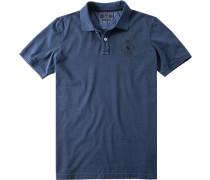 Herren Polo-Shirt Baumwoll-Jersey jeansblau meliert