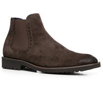 Herren Schuhe Chelsea Boots Kalbvelours dunkelbraun braun,blau