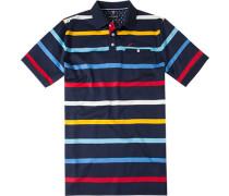 Herren Polo-Shirt Baumwoll-Jersey nachtblau gestreift