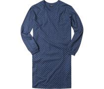 Herren Nachthemd Baumwolle navy gemustert blau