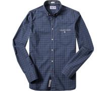 Herren Hemd Modern Fit Popeline navy-schwarz kariert blau