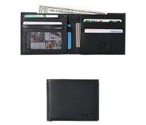 Herren Schein-Kartenbörse, Leder, schwarz