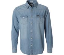 Herren Hemd, Regular Fit, Jeans, hellblau