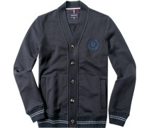 Herren Sweat-Cardigan Baumwolle navy blau