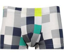 Herren Unterwäsche Shorts Viskose-Elasthan grau-blau-grün kariert