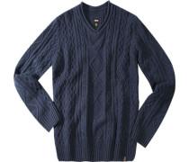 Herren V-Pullover Wolle-Kaschmir navy blau