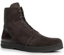 Herren Schuhe Schnürstiefeletten, Veloursleder, dunkelbraun
