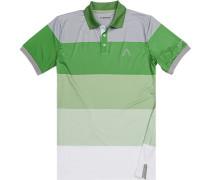 Herren Polo-Shirt, Microfaser Drycomfort®, grasgrün-grau gestreift