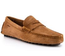 Schuhe Mokassins Veloursleder cognac