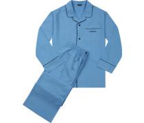 Herren Schlafanzug Baumwollpopeline kornblumenblau marine abgesetzt