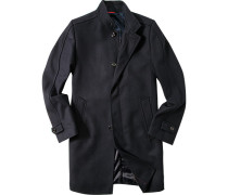Herren Mantel Wolle marineblau