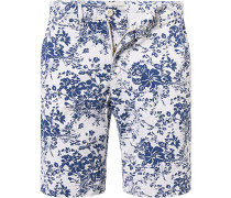 Herren Hose Bermudashorts Baumwolle blau-weiß gemustert