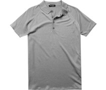 Herren Polo-Shirt Seide-Leinen grau