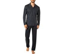 Schlafanzug Pyjama Baumwolle dunkel