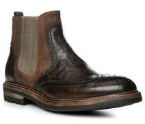 Herren Schuhe Chelsea Boots, Leder-Veloursleder, testa di moro braun