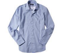 Herren Hemd Strukturgewebe blau-weiß gemustert