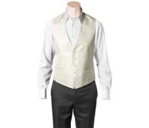 Herren Anzug Weste Slim Fit Microfaser wollweiß-creme gemustert