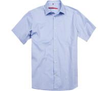 Herren Hemd Classic Fit Baumwolle blau gemustert