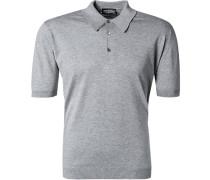 Herren Polo-Shirt Easy Fit Sea Island Cotton-Strick hellgrau meliert