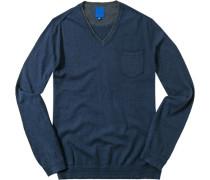 Herren Pullover, Baumwolle-Kaschmir, navy blau