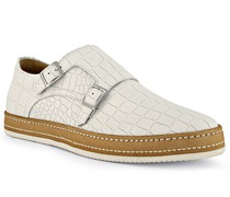 Schuhe Monkstraps Leder bianco