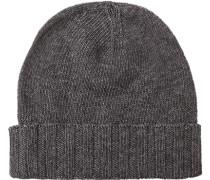 Herren   Mütze Material-Mix anthrazit meliert grau