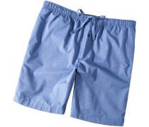 Herren Schlafanzug Pyjamashorts Baumwolle blau gestreift