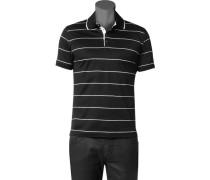 Herren Polo-Shirt Baumwoll-Jersey schwarz-weiß gestreift