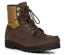 Herren Schuhe Schnürstiefeletten, Leder wasserabweisend, dunkelbraun