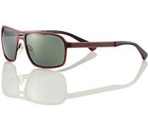 Herren Brillen Sonnenbrille, Metall, schwarz-rot
