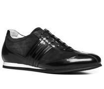 Herren Schuhe Sneaker, Glatt-Veloursleder, schwarz