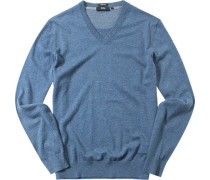 Herren Pullover Regular Fit Baumwolle-Wolle bleu meliert blau