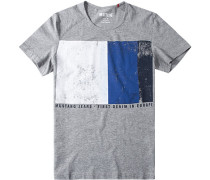 Herren T-Shirt Tailored Fit Baumwoll-Mix gemustert