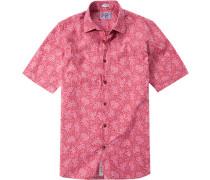 Herren Hemd Modern Fit Popeline rot-pink floral rosa