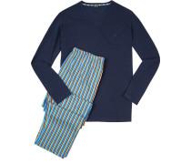 Herren Schlafanzug Pyjama Baumwolle blau-multicolor gestreift