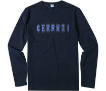 Herren T-Shirt Longsleeve Baumwoll-Stretch dunkelblau