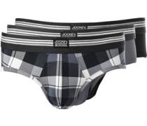Herren Unterwäsche Slips, Baumwoll-Stretch, grau-schwarz-kariert