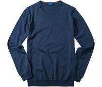 Herren Pullover, Schurwolle, blau