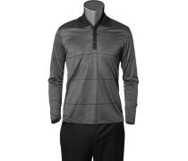 Herren Polo-Shirt Baumwoll-Jersey schwarz-grau gestreift